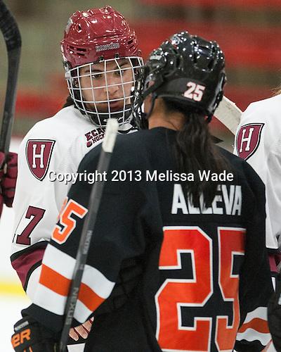 Briana Mastel (Harvard - 17), Rose Alleva (Princeton - 25) - The Harvard University Crimson defeated the visiting Princeton University Tigers 4-0 on Saturday, October 26, 2013, at Bright-Landry Hockey Center in Cambridge, Massachusetts.