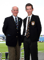 PICTURE BY VAUGHN RIDLEY/SWPIX.COM - Cricket - County Championship, Div 2 - Yorkshire v Northamptonshire, Day 2  - Headingley, Leeds, England - 31/05/12 - Brian Close (L) and Barney Gibson.  Brian Close is the youngest cricketer to play for England and Barney Gibson is the youngest English born cricketer to play first-class cricket in England.