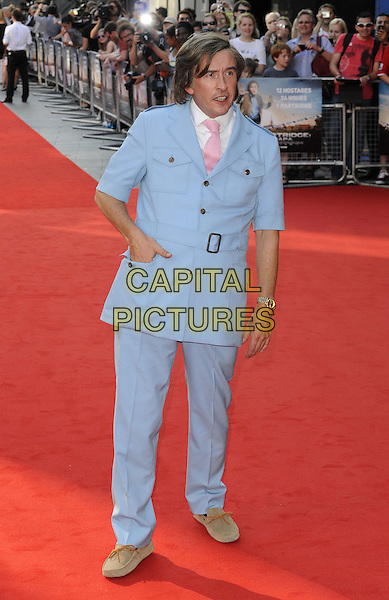 Steve Coogan<br /> attended the &quot;Alan Partridge: Alpha Papa&quot; UK film premiere, Vue West End cinema, Leicester Square, London, England, UK, <br /> 24th July 2013.<br /> full length in character blue suit belt hand in pocket pink tie white shirt <br /> CAP/CAN<br /> &copy;Can Nguyen/Capital Pictures