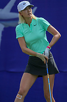 Michelle Wie wacthes her drive off of the 1st tee during Round 3 at the ANA Inspiration, Mission Hills Country Club, Rancho Mirage, Calafornia, USA. {03/31/2018}.<br />