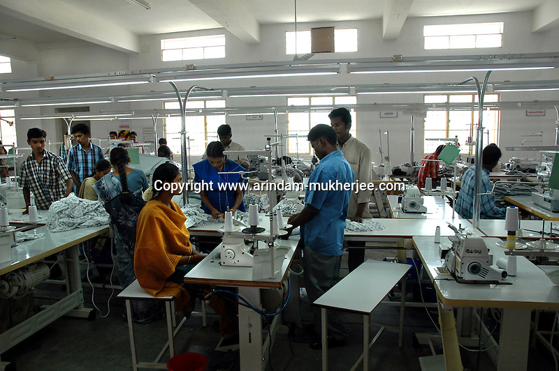 Popy's garment stitching factory in Tirupur, Tamilnadu. After lifting of quota system in textile export on 1st january 2005. Tirupur has become the biggest foreign currency earning town of India.