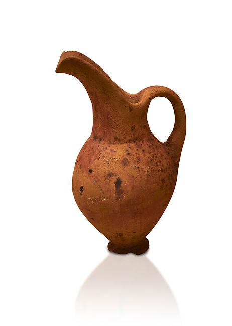 Hittite terra cotta beak spout pitcher. Hittite Old Period, 1650 - 1450 BC.  Hattusa Boğazkale. Çorum Archaeological Museum, Corum, Turkey. Against a white bacground.