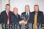 CRYSTAL: Tim Griffin, Tralee receives a crystal from AAI President Michael Heery in recognition of being inducted into the Kerry AAI hall of fame at the Kerry AAI county awards night, held in the Killarney Oaks Hotel on Friday night l-r: Denny McSweeney (Secretary), Tim Griffin, Michael Heery and Martin Fitzgerald (Chairperson).   Copyright Kerry's Eye 2008
