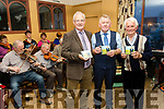 Jim Breen, centre, who launched his new CD, ' Songs of Irish Life ', to a packed hall, last Friday night in the White Sands hotel, Ballyheigue, with him were John Lucid, Left and Tom Lawlor.