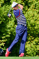 Rickie Fowler (USA) watches his tee shot on 10 during the practice round at the Ryder Cup, Hazeltine National Golf Club, Chaska, Minnesota, USA.  9/29/2016<br /> Picture: Golffile | Ken Murray<br /> <br /> <br /> All photo usage must carry mandatory copyright credit (&copy; Golffile | Ken Murray)