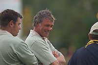 Straffin Co Kildare Ireland. K Club Ruder Cup...European Ryder Cup team members Lee Westwood and Darren Clarke talk to Team Captain Ian Woosnam on 18th green after their match on the opening fourball session on the first day of the 2006 Ryder Cup, at the K Club in Straffan, Co Kildare, in the Republic of Ireland, 22 September 2006..Photo: Eoin Clarke/ Newsfile..