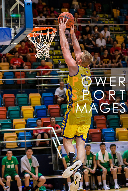 Hosford Ian Daniel #5 of Winling Basketball Club dunks the ball during the Hong Kong Basketball League playoff game between Winling and Tycoon at Queen Elizabeth Stadium on July 24, 2018 in Hong Kong. Photo by Marcio Rodrigo Machado / Power Sport Images
