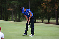 CHAPEL HILL, NC - OCTOBER 13: Gina Kim of Duke University sinks a putt at UNC Finley Golf Course on October 13, 2019 in Chapel Hill, North Carolina.