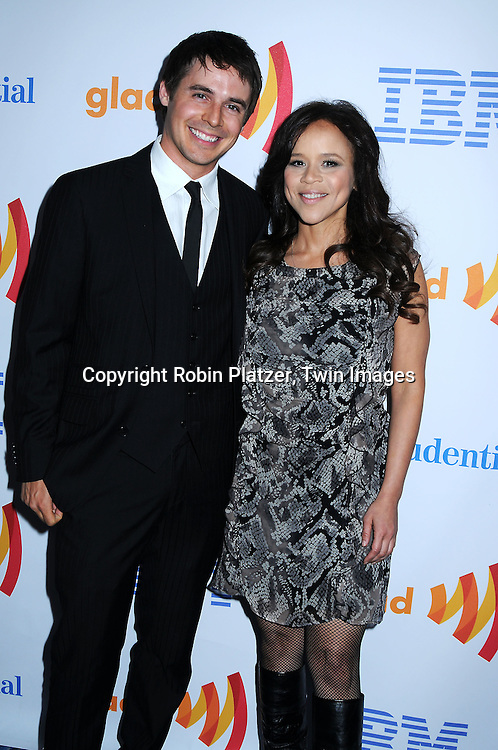 Brett Claywell and Rosie Perez posing for photographers at The 21st Annual GLAAD Media Awards on March 13, 2010 at The Marriott Marquis Hotel in New York City. The Honorees wereJoy Behar and Cynthia Nixon.