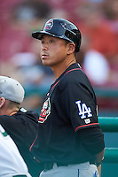Great Lakes Loons coach Fumimasa Ishibashi (27) during a game against the Kane County Cougars on August 13, 2015 at Fifth Third Bank Ballpark in Geneva, Illinois.  Great Lakes defeated Kane County 7-3.  (Mike Janes/Four Seam Images)