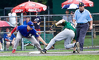 MIDDLETOWN, CT - 05 AUGUST 2010 -.East Longmeadow Post 293's James Christensen tries to tag out Warwick, RI's New England Frozen Lemonade's Michael Englert as he slides safely into third during Thursday's American Legion Northeast Regional Tournament game at Palmer Field in Middletown..Photo by Josalee Thrift