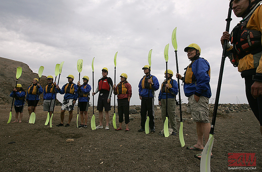 SANTA CRUZ ISLAND,CA - OCT. 26, 2007: Travelers on Santa Cruz island prepare to go Kayaking, October 25, 2007. Kayaking is one of the best ways to experience the pristine marine environment of Channel Islands National Park.