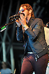 Gaz Coombes  performs on stage  at the big feastival  held at Alex James' farm near Kingham, Oxfordshire 01/09/2012