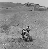 Mascara Area, Algeria, Summer 1961. Typical French Fort for a small harka unit. Plantation is very painful as the water is scarcy.
