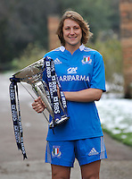 London, England.  Italy captain Silvia Gaudino poses with the Women's Six Nations trophy during the RBS Six Nations launch at The Hurlingham Club on January 23, 2013 in London, England.