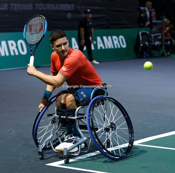 Rotterdam, The Netherlands, 14 Februari 2020, ABNAMRO World Tennis Tournament, Ahoy, <br /> Wheelchair Doubles: Gordon Reid (GBR).<br /> Photo: www.tennisimages.com