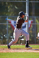St. Bonaventure Bonnies designated hitter Aaron Phillips (13) at bat during a game against the Dartmouth Big Green on February 25, 2017 at North Charlotte Regional Park in Port Charlotte, Florida.  St. Bonaventure defeated Dartmouth 8-7.  (Mike Janes/Four Seam Images)