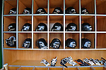 8 June 2008: San Francisco Giants' batting helmets lie ready for use prior to a game against the Washington Nationals at Nationals Park in Washington, DC. The Giants rallied to defeat the Nationals 6-3 in their third consecutive win of the 4-game series...Mandatory Photo Credit: Ed Wolfstein Photo