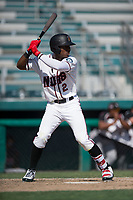 Modesto Nuts right fielder Kyle Lewis (2) at bat during a California League game against the Lake Elsinore Storm at John Thurman Field on May 13, 2018 in Modesto, California. Lake Elsinore defeated Modesto 4-3. (Zachary Lucy/Four Seam Images)
