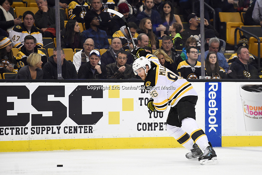 Tuesday, February 9, 2016: Boston Bruins defenseman Kevan Miller (86) tees up a slapshot during the National Hockey League game between the Los Angeles Kings and the Boston Bruins, held at TD Garden, in Boston, Massachusetts. The Kings defeat the Bruins 9-2. Eric Canha/CSM