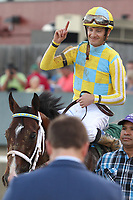 HOT SPRINGS, AR - APRIL 15: Jockey Julien Leparoux celebrating after winning the Arkansas Derby at Oaklawn Park on April 15, 2017 in Hot Springs, Arkansas. (Photo by Justin Manning/Eclipse Sportswire/Getty Images)