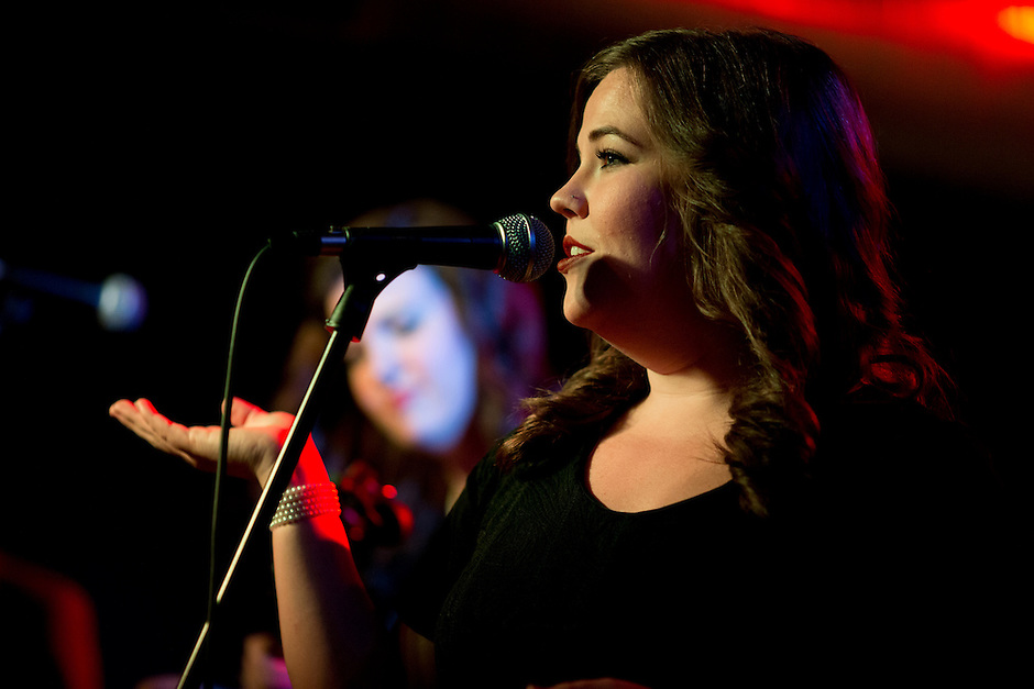 Laura Rogers of The Secret Sisters performs on Sunday, July 13, 2014, at The Hi-Fi in Indianapolis. (Photo by James Brosher)