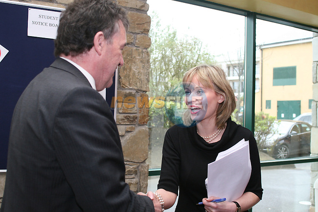 Bill Cullen meets Anne-Marie McCarrick, principal as he visits Coláiste na hInse...Photo NEWSFILE/Jenny Matthews.(Photo credit should read Jenny Matthews/NEWSFILE)....This Picture has been sent you under the condtions enclosed by:.Newsfile Ltd..The Studio,.Millmount Abbey,.Drogheda,.Co Meath..Ireland..Tel: +353(0)41-9871240.Fax: +353(0)41-9871260.GSM: +353(0)86-2500958.email: pictures@newsfile.ie.www.newsfile.ie.FTP: 193.120.102.198.