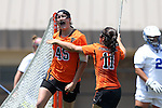 16 May 2015: Princeton's Anya Gersoff (45) celebrates her goal with Stephanie Paloscio (11). The Duke University Blue Devils hosted the Princeton University Tigers at Koskinen Stadium in Durham, North Carolina in a 2015 NCAA Division I Women's Lacrosse Tournament quarterfinal match. Duke won the game 7-3.