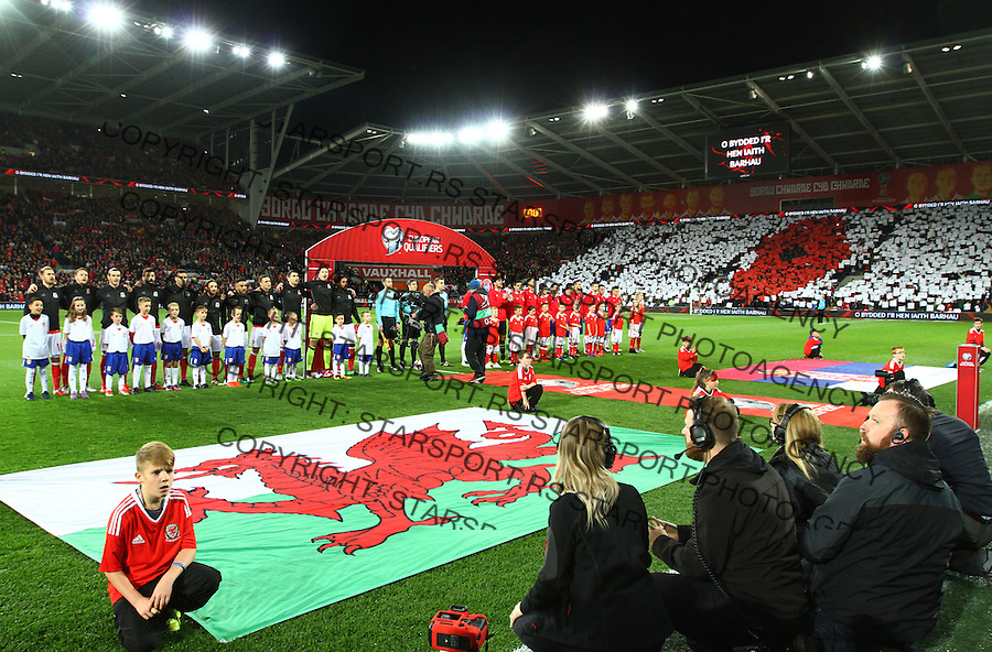 (copyright &amp; photo: STARSPORT)<br /> 12.11.16 World Cup Qualifier -  European Group D - Wales v Serbia -<br /> Teams of Wales and Serbia line up for the National Anthems