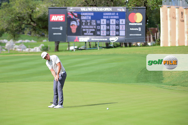 Cameron Smith (USA) lines up his putt on 18 during round 2 of the Valero Texas Open, AT&amp;T Oaks Course, TPC San Antonio, San Antonio, Texas, USA. 4/21/2017.<br /> Picture: Golffile   Ken Murray<br /> <br /> <br /> All photo usage must carry mandatory copyright credit (&copy; Golffile   Ken Murray)