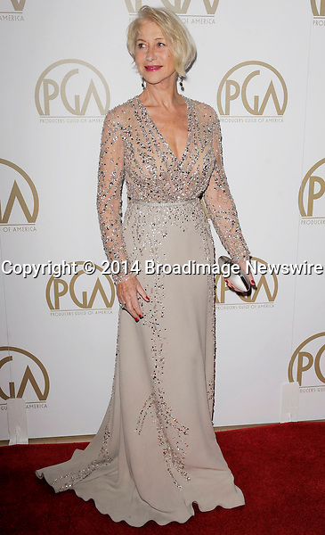 Pictured: Helen Mirren<br /> Mandatory Credit &copy; Adhemar Sburlati/Broadimage<br /> The 25th Annual Producers Guild of America Awards<br /> <br /> 1/19/14, Los Angeles, California, United States of America<br /> <br /> Broadimage Newswire<br /> Los Angeles 1+  (310) 301-1027<br /> New York      1+  (646) 827-9134<br /> sales@broadimage.com<br /> http://www.broadimage.com