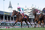 November 3, 2018: Expert Eye #7, ridden by Frankie Dettori, wins the Breeders' Cup Mile on Breeders' Cup World Championship Saturday at Churchill Downs on November 3, 2018 in Louisville, Kentucky. Alex Evers/Eclipse Sportswire/CSM