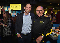 """HOLLYWOOD - SEPTEMBER 24: Eric Schrier and Thomas Lofaro attend the post-party at Dave & Busters following the  premiere of FXX's """"It's Always Sunny in Philadelphia"""" Season 14 on September 24, 2019 in Hollywood, California. (Photo by Stewart Cook/FXX/PictureGroup)"""