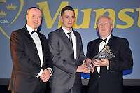 At the Bord G&aacute;is Energy Munster GAA Sports Star of the Year Awards in The Malton Hotel, Killarney on Saturday night were front from left, Dave Kirwan, Managing Director, Bord Gais Energy, Jack Savage, Minor Footballer of the Yearaward  and Robert Frost, Chairman, Munster GAA.<br /> Picture by Don MacMonagle<br /> <br /> PR photo from Munster Council