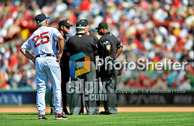 10 June 2012: Boston Red Sox Manager Bobby Valentine watches the umpires discuss a call during a game against the Washington Nationals at Fenway Park in Boston, MA. The Nationals defeated the Red Sox 4-3 to sweep their 3-game interleague series. Mandatory Credit: Ed Wolfstein Photo