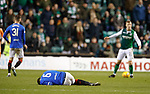 19.12.2018 Hibs v Rangers: Connor Goldson down after Kamberi challenge