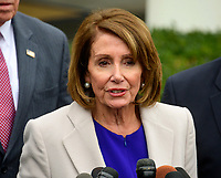 Speaker of the United States House of Representatives Nancy Pelosi (Democrat of California) makes remarks to the press after their meeting with United States President Donald J. Trump in the Situation Room of the White House in Washington, DC in an effort to break the political impasse  on border security and reopen the federal government on Friday, January 4, 2018. <br /> Credit: Ron Sachs / CNP/AdMedia/AdMedia