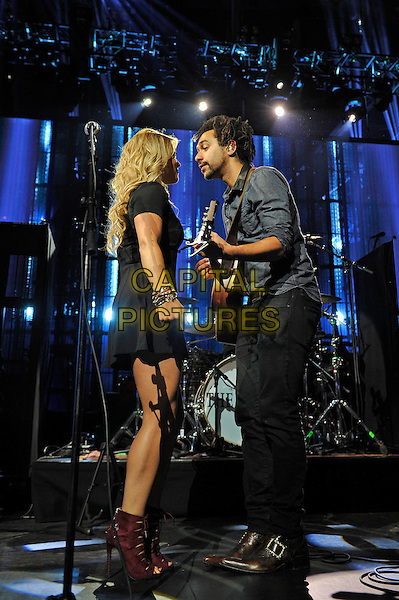 LONDON, ENGLAND - SEPTEMBER 21: Crissie Rhodes and Ben Earle of 'The Shires' performing at Apple Music Festival, Camden Roundhouse on September 21, 2015 in London, England.<br /> CAP/MAR<br /> &copy; Martin Harris/Capital Pictures