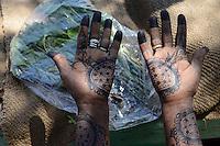 DJIBOUTI, Arta, women sell Khat leaves, which is a chewing drug, woman with Mehndi hand painting /  DSCHIBUTI, Arta, Verkauf der Droge Khat, das Kauen der Blaetter des Kathstrauch erzeugt einen Rauschzustand, in Djibouti ist der Verkauf staatlich geregelt, die Blaetter kommen aus Aethiopien, Frau mit Mehndi Handbemalung