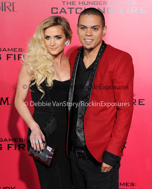 LOS ANGELES, CA - NOVEMBER 18: Evan Ross and Ashlee Simpson arrives at   THE HUNGER GAMES: CATCHING FIRE L.A. Premiere held at Nokia Live  in Los Angeles, California on November 18,2012                                                                               © 2013  Hollywood Press Agency
