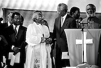SOWETO, SOUTH AFRICA - APRIL 15: Former President Nelson Mandela of South Africa greets Desmond Tutu at a pre-election rally weeks before the historic democratic election on April 15, 1994 in Soweto, South Africa. The ANC freedom fighter was in prison for 27 years and released in 1990. He became President of South Africa after the first multiracial democratic elections in April 1994. Mr. Mandela retired after one term in 1999 and gave the leadership. (Photo by Per-Anders Pettersson)