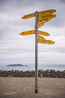 City distances sign at Cape Reinga Lighthouse, Northland, New Zealand