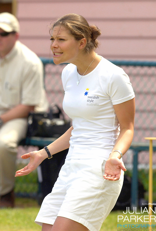 Crown Princess Victoria of Sweden plays lawn bowls at Princes Park Bowling Club in Melbourne, during her visit to promote 'Swedish Style In Australia'..