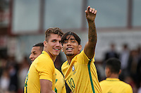 Lucas Paqueta (right) of Brazil celebrates the win with Lyanco (Captain) of Brazil  during the International match between England U20 and Brazil U20 at the Aggborough Stadium, Kidderminster, England on 4 September 2016. Photo by Andy Rowland / PRiME Media Images.