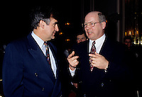 Montreal (Qc) CANADA - File Photo - May 1996 -<br /> <br /> Lucien Bouchard,  Leader Parti Quebecois (from Jan 29, 1996 to March 2, 2001). seen in a May 1996 file photo with Michel Gauthier, who replaced Bouchard as Bloc Quebecois Leader<br /> <br /> After the Yes side lost the 1995 referendum, Parizeau resigned as Quebec premier. Bouchard resigned his seat in Parliament in 1996, and became the leader of the Parti Qu&Egrave;b&Egrave;cois and premier of Quebec.<br /> <br /> On the matter of sovereignty, while in office, he stated that no new referendum would be held, at least for the time being. A main concern of the Bouchard government, considered part of the necessary conditions gagnantes (&quot;winning conditions&quot; for the feasibility of a new referendum on sovereignty), was economic recovery through the achievement of &quot;zero deficit&quot;. Long-term Keynesian policies resulting from the &quot;Quebec model&quot;, developed by both PQ governments in the past and the previous Liberal government had left a substantial deficit in the provincial budget.<br /> <br /> Bouchard retired from politics in 2001, and was replaced as Quebec premier by Bernard Landry.