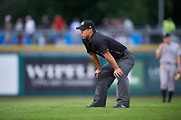 Umpire Kai Nakamura during a Pioneer League game between the Grand Junction Rockies and Billings Mustangs at Dehler Park on August 14, 2019 in Billings, Montana. Grand Junction defeated Billings 8-5. (Zachary Lucy/Four Seam Images)