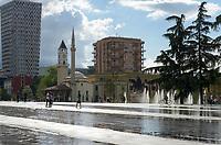 ALBANIA, Tirana, central Skënderbej square with Et'hem Bey Mosque  / ALBANIEN, Tirana, zentraler Skanderbeg Platz mit der Et'hem-Bey-Moschee