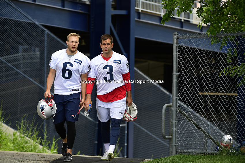June 7, 2018: New England Patriots punter Ryan Allen (6) and kicker Stephen Gostkowski (3) head to practice at the team's mini camp held at Gillette Stadium, in Foxborough, Massachusetts. Eric Canha/CSM