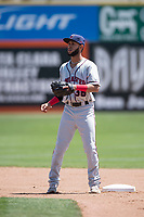 Lancaster JetHawks second baseman Carlos Herrera (36) prepares to catch a ball during a California League game against the San Jose Giants at San Jose Municipal Stadium on May 13, 2018 in San Jose, California. San Jose defeated Lancaster 3-0. (Zachary Lucy/Four Seam Images)