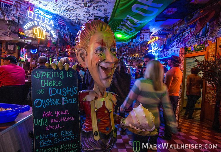 The entrance of Dusty's Oyster Bar in Panama City Beach, Florida.